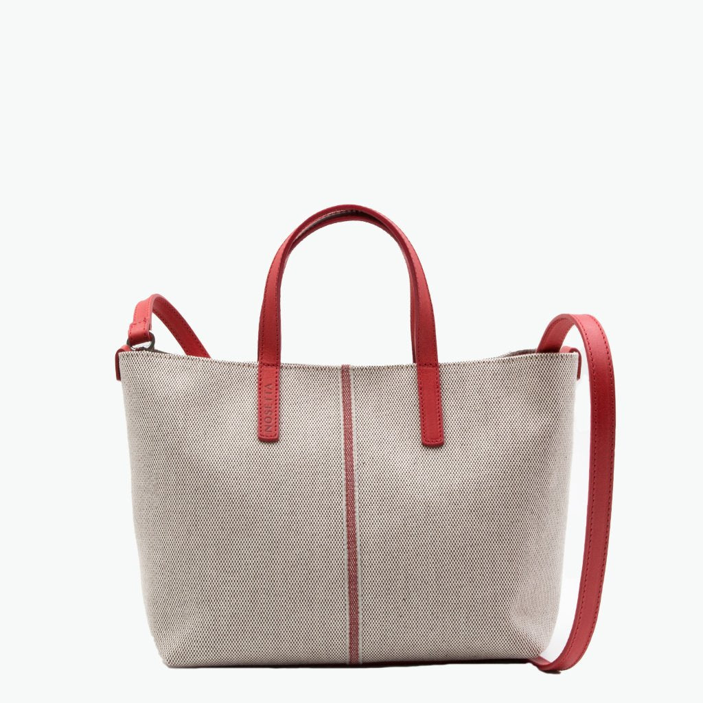 Carlia Small Tote Cotton Tweed and Leather