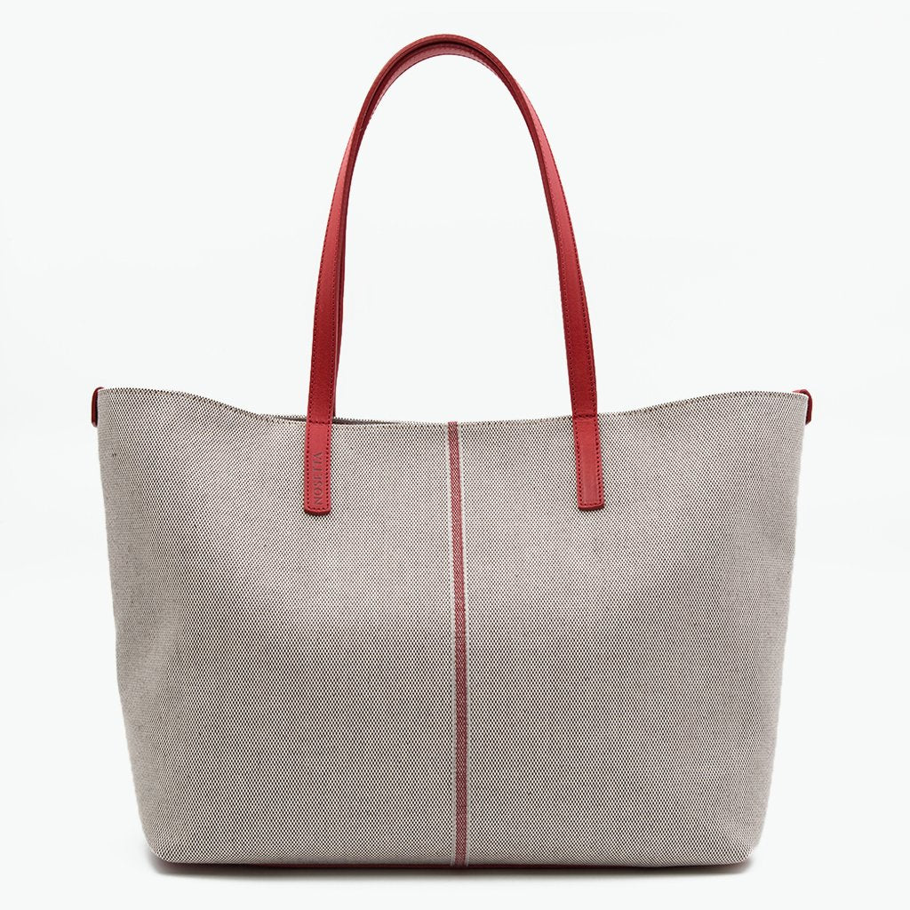 Celesia Medium Tote Cotton Tweed and Leather - Nosetta