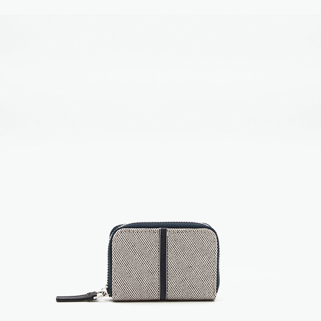 Floria Card Case Cotton Tweed and Leather