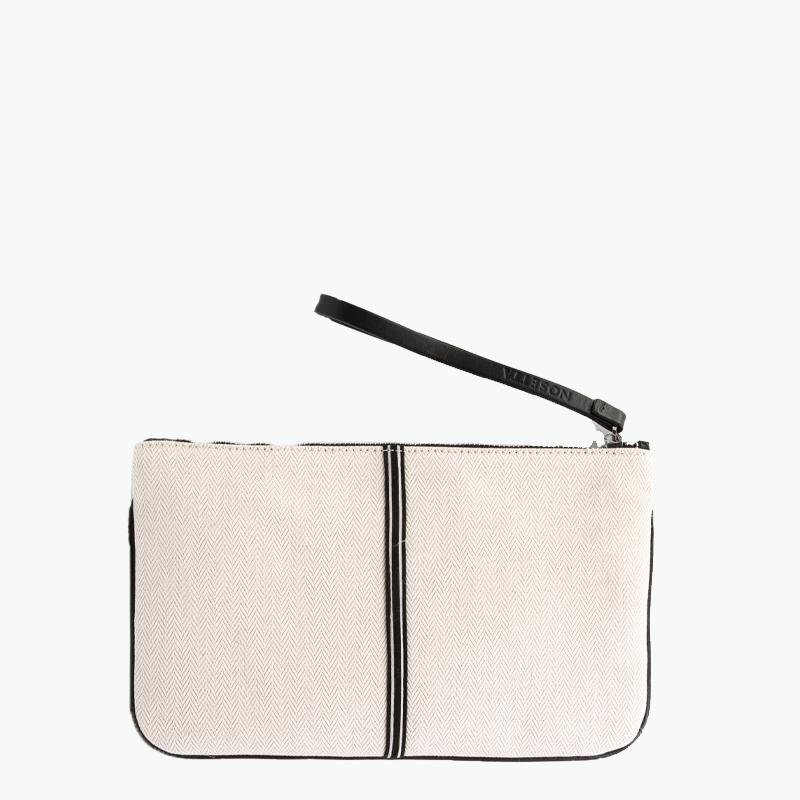 Gallia Clutch Herringbone Cotton-Linen and Leather