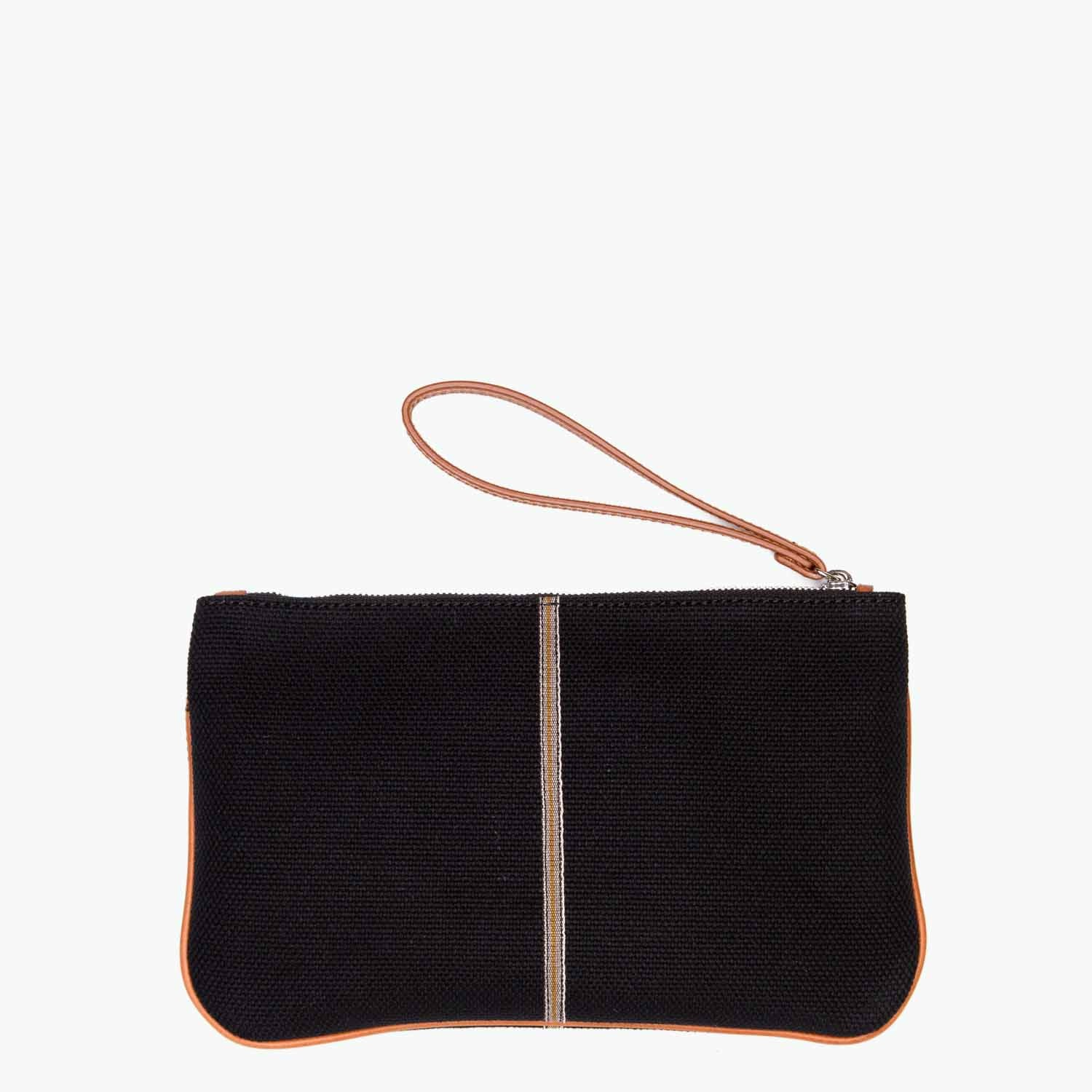 Gallia Clutch Cotton Canvas and Leather
