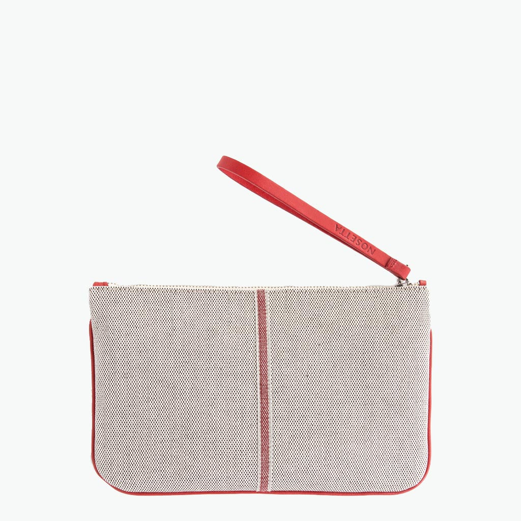 Gallia Clutch Cotton Tweed and Leather