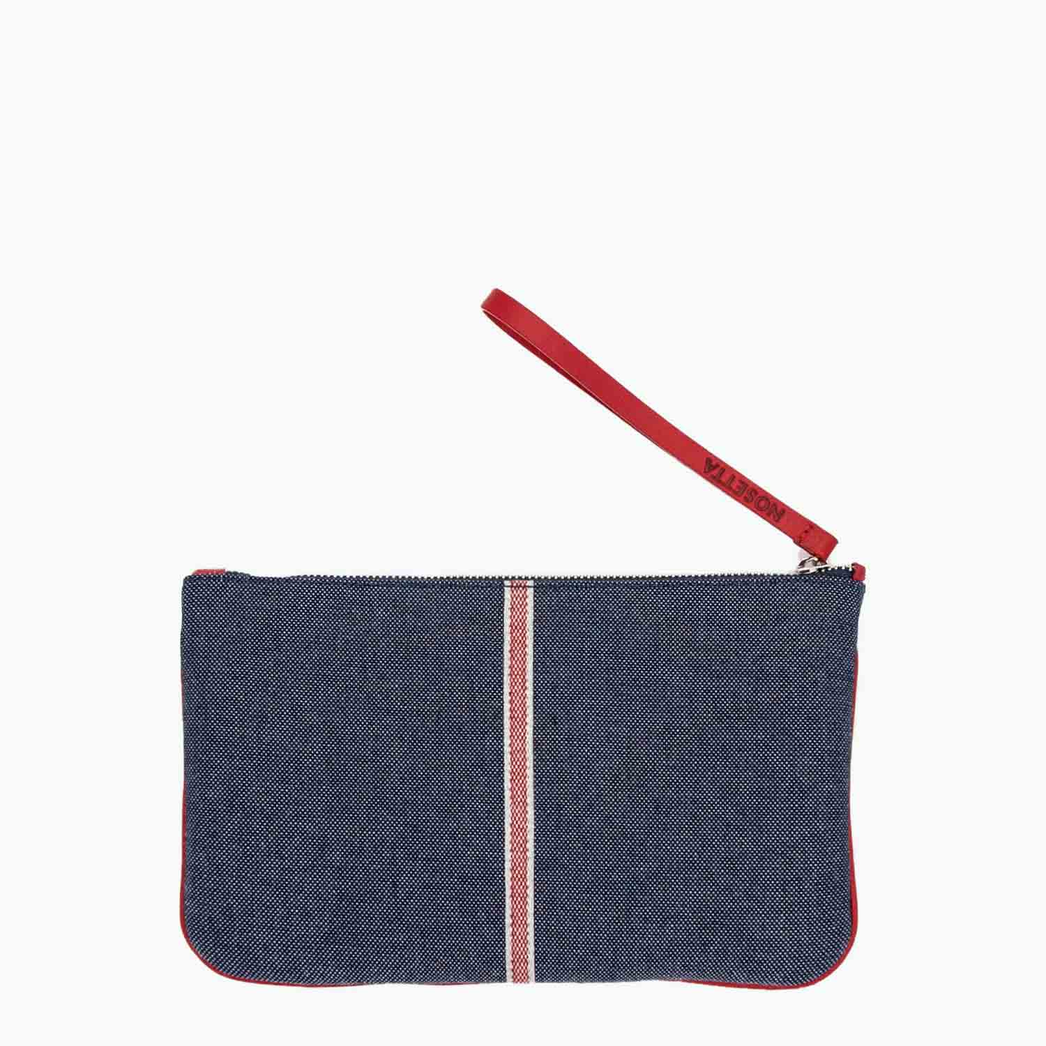 Gallia Clutch Denim and Leather