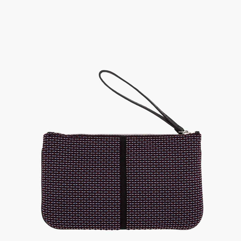 Gallia Clutch Velvet Tweed and Leather