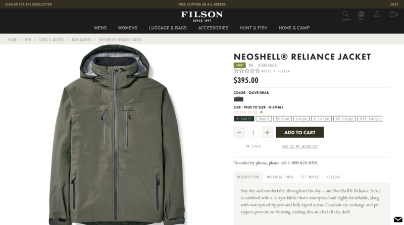 Filson Product Page