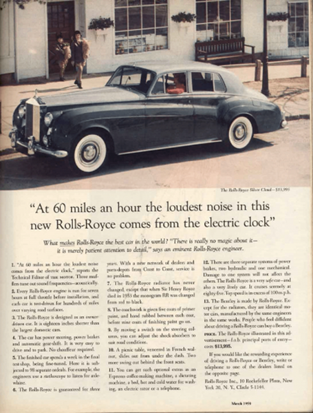 Photo of a Famous Sales Letter for Rolls-Royce