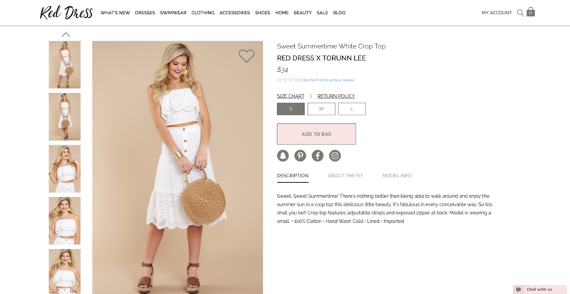 Red Dress Boutique Product Page