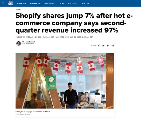 Shopify shares jump 7% in Q2 2020