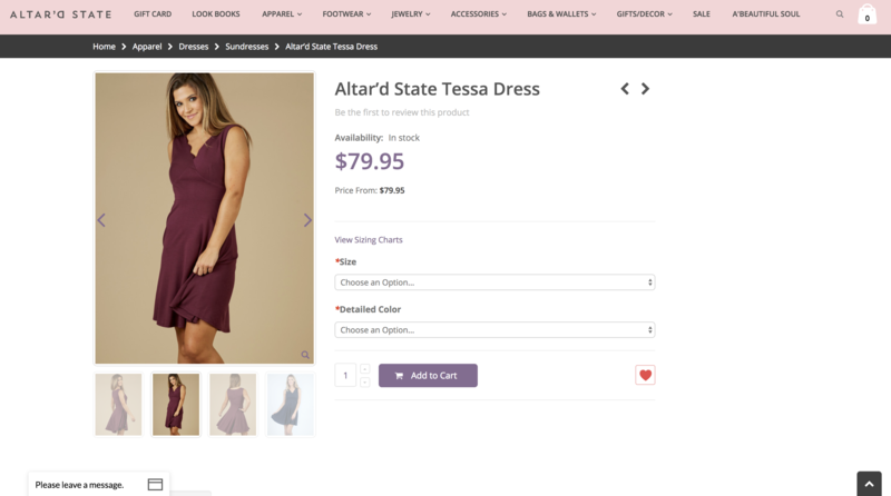 Altar'd Product Page