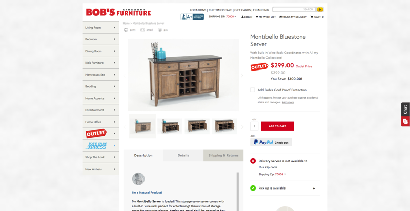 Bob's Furniture Product Page
