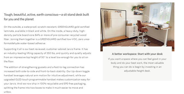 Fully Standing Desk Product Description Example