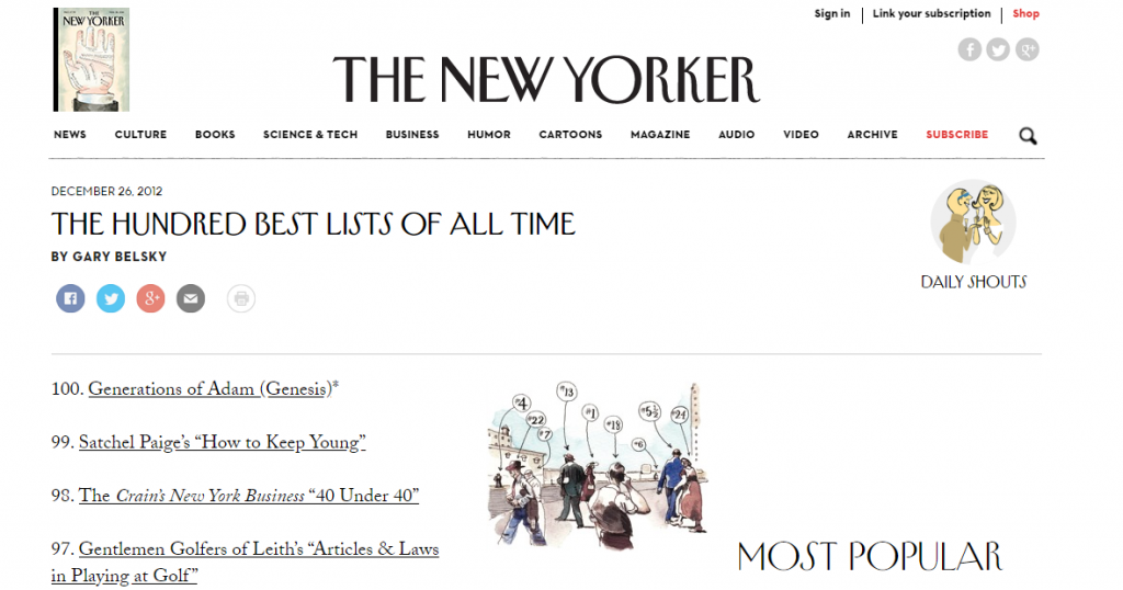 List to end all lists, The New Yorker