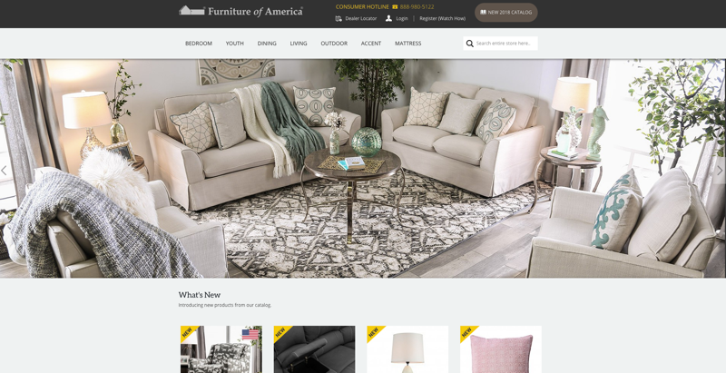 Furniture Of America Homepage