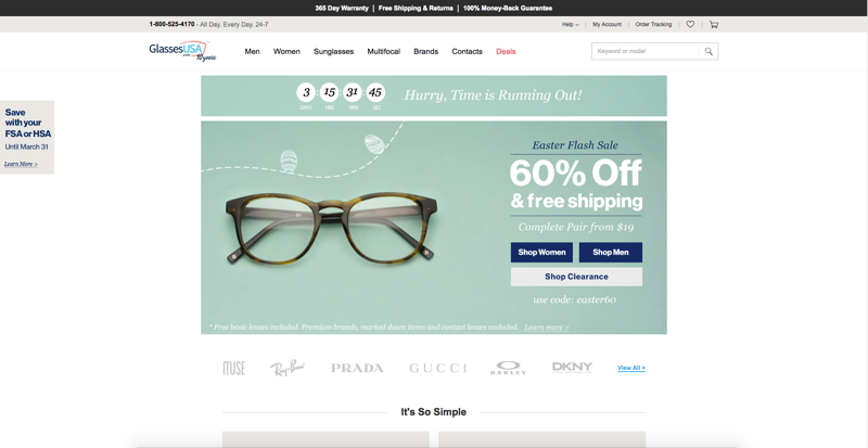 Glasses USA Home Page