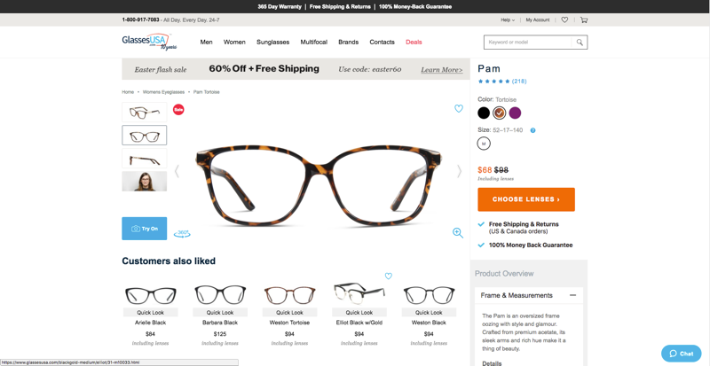 Glasses USA Product Page