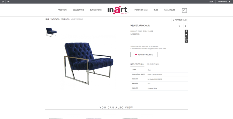 Inart Product Page