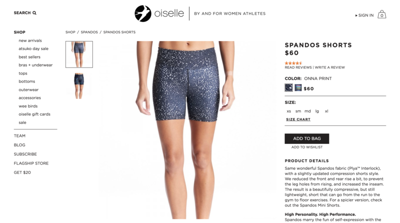 Oiselle Product Page
