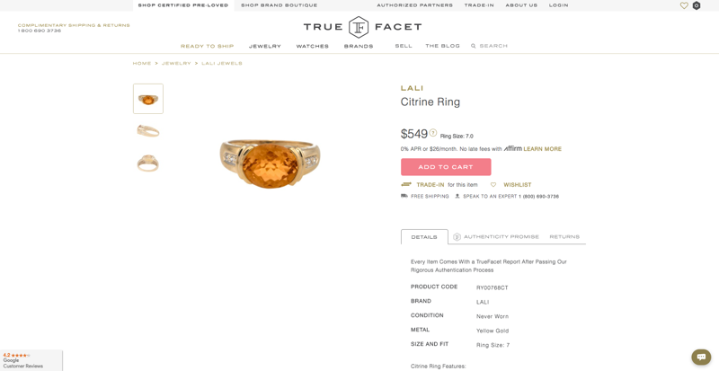 True Facet Product Page