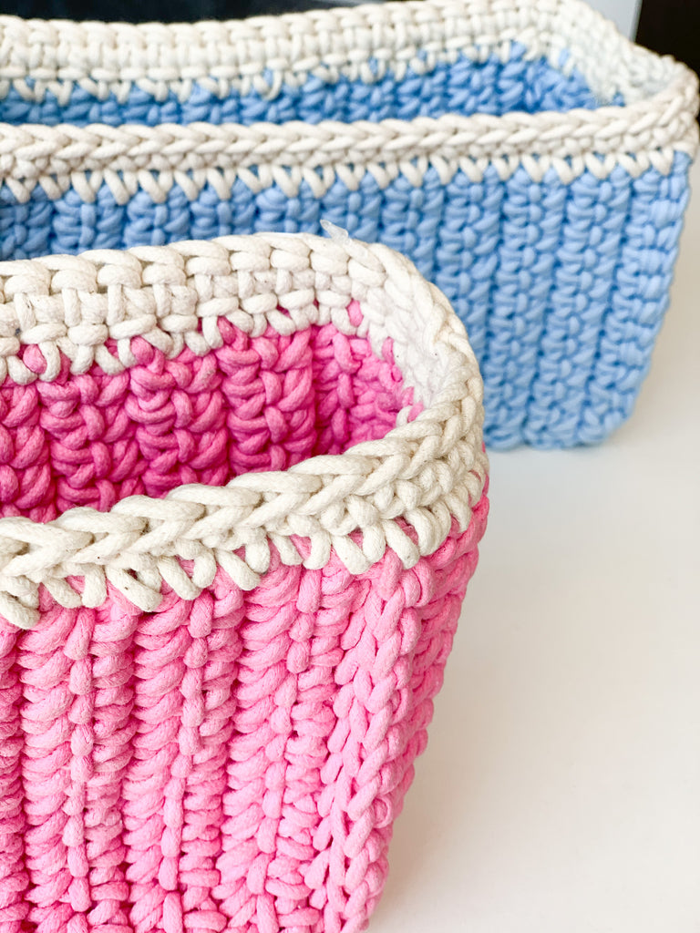 Storage Bucket Hand Made with Organic Cotton Azo-Free