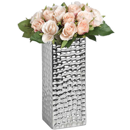 Square Silver Ceramic Dimple Effect Vase-COLLECTION ONLY