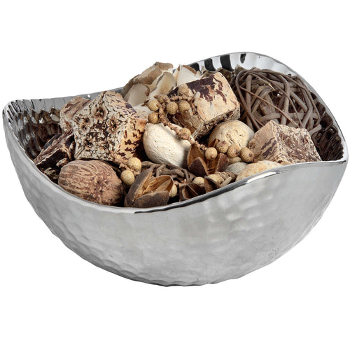 Silver Ceramic Dimple Effect Display Bowl - Small-COLLECTION ONLY