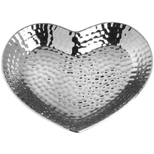 Load image into Gallery viewer, Silver Ceramic Dimple Effect Heart Dish-Medium-COLLECTION ONLY
