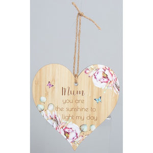 Wooden Hanging Mum You Are The Sunshine To Light My Day Wooden Heart