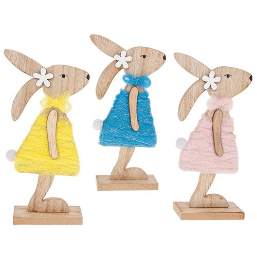 Easter Bunny Woolly Wooden Decoration