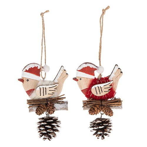 Christmas Hanging Robin wood wool Pine cone xmas decoration