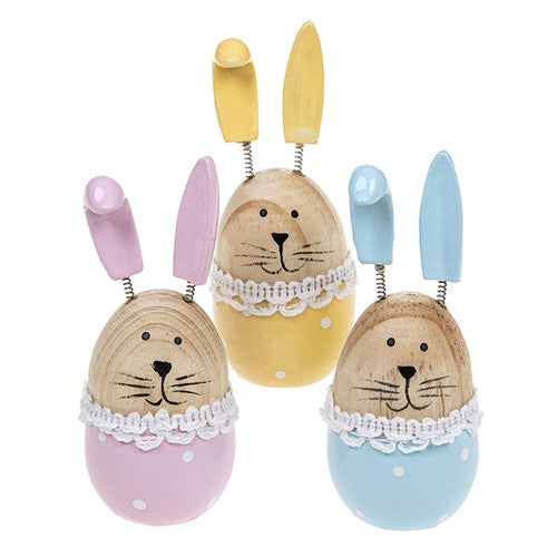 Wooden Easter Novelty Bunny Decoration Pink/Blue or Yellow