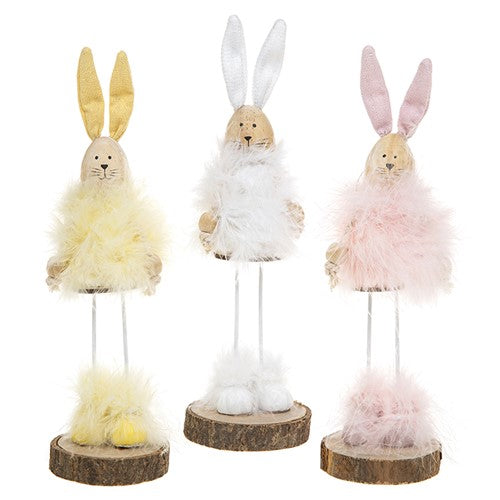 Easter Fluffy Maribou Standing Bunny Pink/Yellow or White