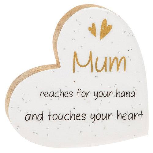 Heart Plaque-Mum Reaches For Your Hand And Touches Your Heart Glitter Words