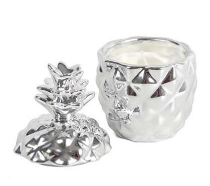 Silver Pineapple Candle 11cm