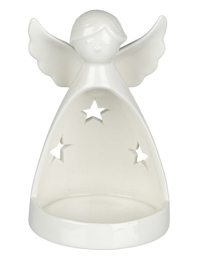 White Ceramic Angel Tealight Holder