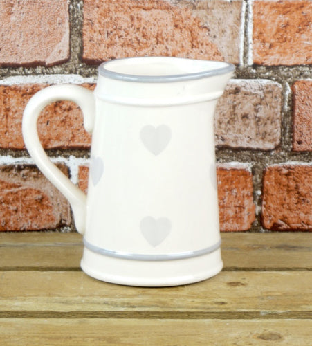Grey Hearts Ceramic Jug
