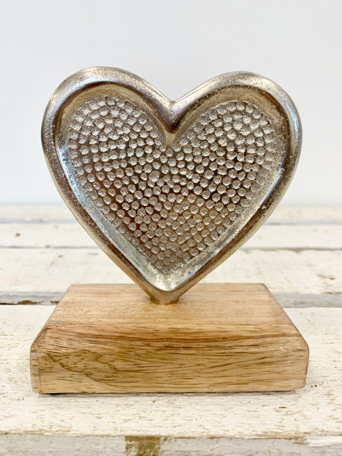 Hammered Aluminium Heart on a Wooden Base