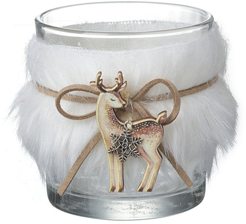 Faux Fur Glass Candle Pot with Deer
