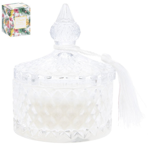 Tropical Citrus & Sage Scented Diamond Ridge candle jar
