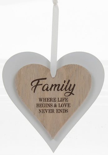 Family where life begins and love never ends Heart Plaque