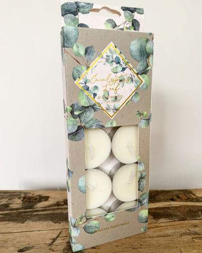 Pack of 10 Eucalyptus scented tealights in an attractive gift box.