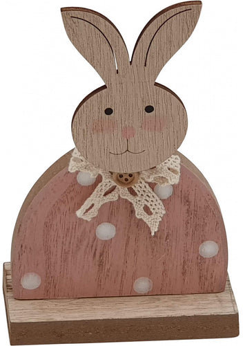 Pink Wooden Easter Bunny Decoration