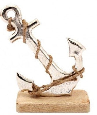 Metal Anchor on a Wooden Block Ornament 18cm