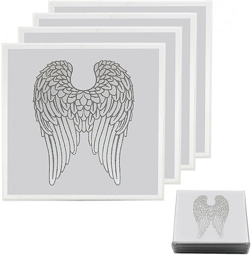 Set of 4 Angel Wings Mirrored Coasters