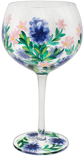 Painted Cornflower and Pink Lily Gin Glass