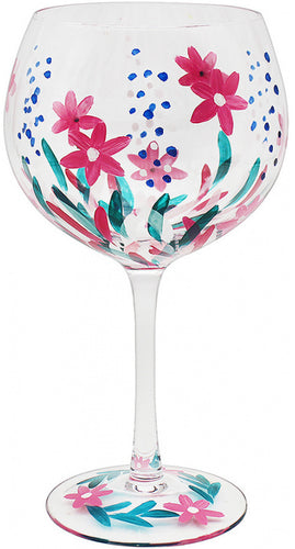 Painted Wild Flower Gin Glass