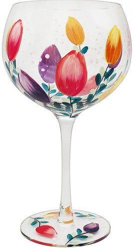 Painted Tulips Gin Glass