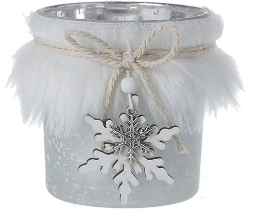 Faux Fur Candle Pot With Snowflake 8cm