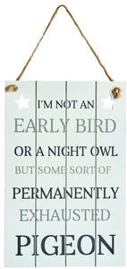 Early Bird White Wooden Sign