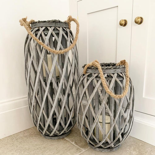 Grey Woven Lantern with Rope Handle 33cm-COLLECTION ONLY