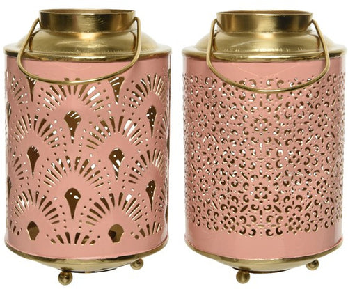 Pink and Gold Fan Lantern With Feet 17.5cm